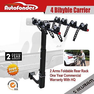 "IKURAM 4 Bicycle Carrier Bike Car Rear Rack 2"" TowBar Steel Foldable Hitch Mount"