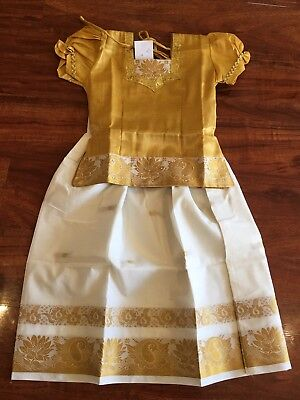 """28"""" Age Size 5 - 6 Bollywood Kids Girls South Indian Silk Skirt Top Gold Cream"""