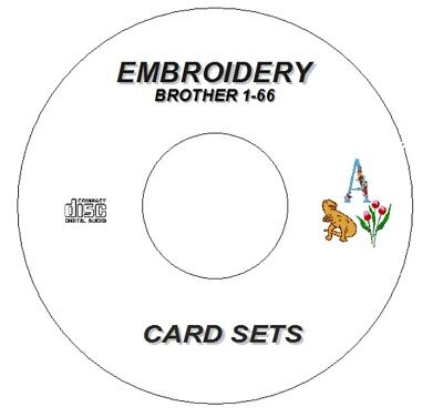 New Embroidery Designs Brother Cards 1- 66 On Cd Disc Pes / Pec