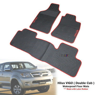 Tailored Waterproof Rubber Floor Mats Carpet For Toyota Hilux Dual Cab 2005-14