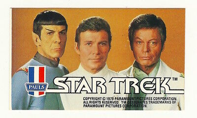 1979 Aust Star Trek Tmp Movie Kirk Spock Bones Ice Cream Sticker Mint Unused Psa