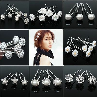 10X Bridal Hair Pins Rhinestone Pearl Diamante Flower Slide Clips Grips Wedding