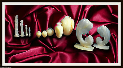 Batch of Items white Marble and Onyx Vases and Madonna Amphorae Marble Onyx Vase
