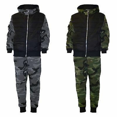 Kids Quilted Camo Tracksuit Army Military Jogging Running Suit 2Piece Set 3-14 Y