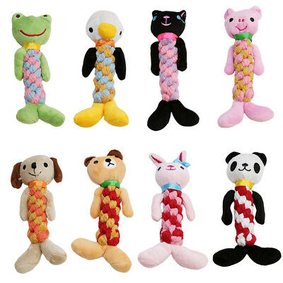 Pet Dog Puppy Rope Teeth Chew Toy Animal Squeaker Squeaky Sound Stuffed Play Toy