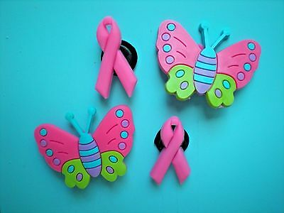 Clog Shoe Charms Button Plug Accessories Bracelet WristBands Pink Butterfly