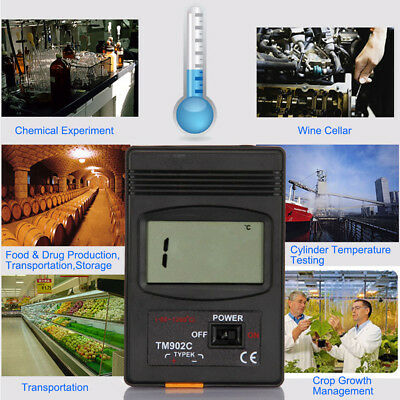 TM-902C K Type LCD Thermometer Thermodetector Meter + Thermocouple Probe BI456
