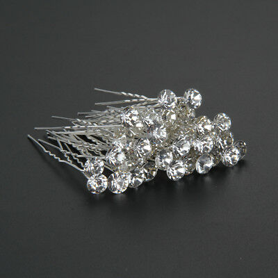 40x Crystal Diamante Hair Pins Wedding Bridesmaid Prom Party Clips Grips UK
