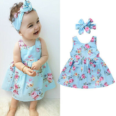 AU Stock Cute Toddler Kids Baby Girl Princess Dress Floral Party  Dress 0-4Years
