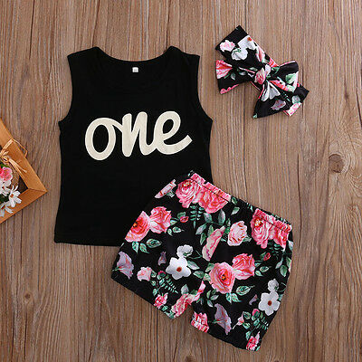 AU Stock Toddler Kids Baby Girls Outfits Clothes T-shirt Tops+Pants/Shorts Set