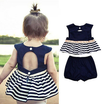 AU Stock 2Kids Baby Girls Navy Blue Dress Top+Shorts Pants Set Clothes Outfits