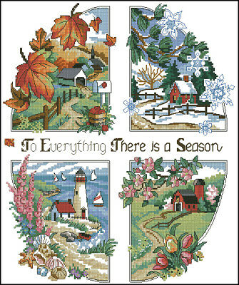 New DIY COUNTED Cross Stitch Kits-Four Seasons-14CT