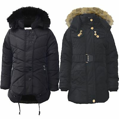 Girls Quilted Winter Coat Kids Fur Lining Detach Hood Padded Jacket Zip 5-13 Y