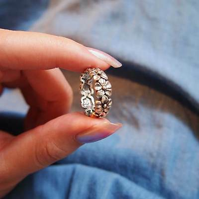 Oxidised 925 STERLING SILVER Daisy Flower Chain Ring Plus Size 10 11 12 T V X