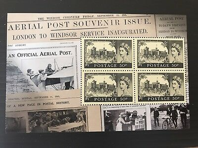 GB Sg 3222 Pane Of 4x 50p Cat £16 From Centenary Of First U.K. Aerial Post Bk