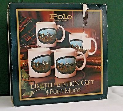 1978 Ralph Lauren Mugs Boxed Set 4 Cups Set Polo Match Equestrian NEVER USED/NOS