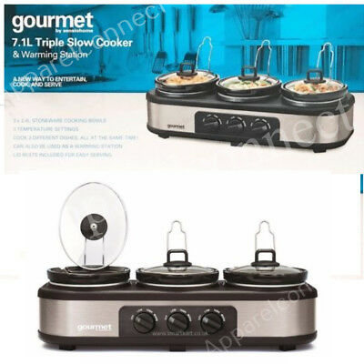 Gourmet by Sensiohome 7.1L Triple Slow Cooker/ Buffet Server Warming Station NEW