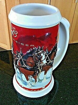Budweiser Beer Holiday Stein Tankard Clydesdale Horses Ale 25th Anniversary Jug