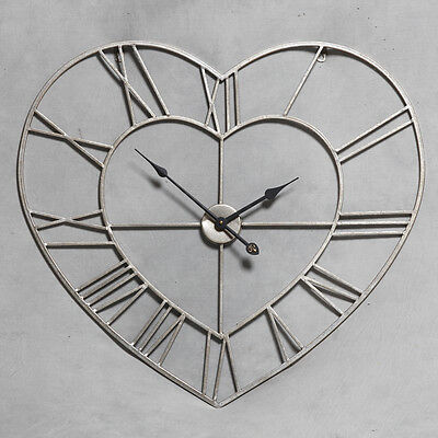 Large Antique Silver Metal Heart Shaped Skeleton Clock - 73 x 73 cm
