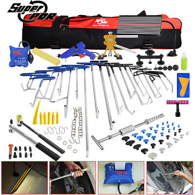 118× Paintless Dent Removal Puller PDR Tools Push Rods Hail Lifter LED Light Kit
