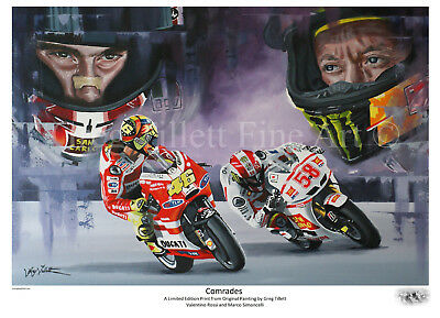 VALENTINO ROSSI MARCO SIMONCELLI  limited print signed by Greg Tillett MOTOGP