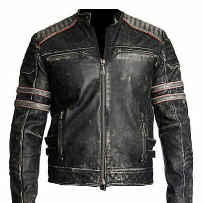 Men's Biker Vintage Motorcycle Retro Cafe Racer Black Distressed Leather Jacket