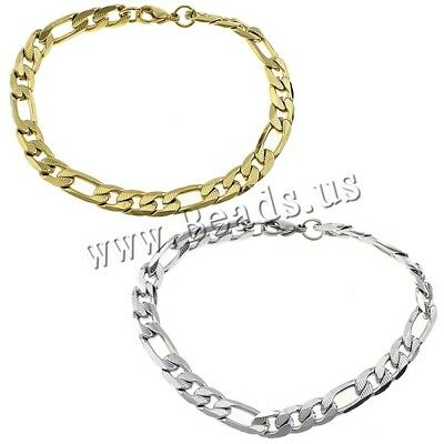 Women Men Chain Bracelet Silver Gold Color Figaro Chain Stainless Steel Bangl...