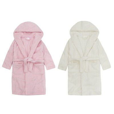 4Kidz Infant Girls Sparkle Snuggle Fleece Dressing Gown Hooded Night Robe New
