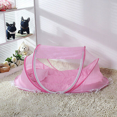 Foldable Baby Crib Infant Bed Mosquito Net Cotton-padded Mattress Pillow Tent