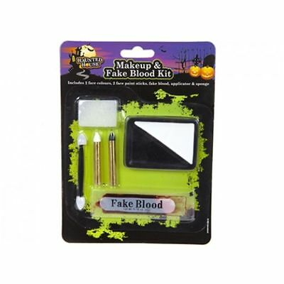 6 Pc Fancy Dress Halloween Black And White Face Paint Set With Fake Blood Kit