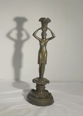 Antique Cast Brass Bronze Signed Lamp Candlestick Valery Egyptian Neo Classical