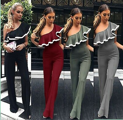 UK Women Ruffle Frill Off Shoulder Ladies Casual Summer Party Playsuit Jumpsuit