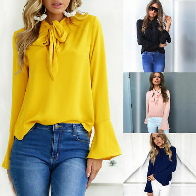 UK Womens Pussy-bow Blouse Causal Loose Shirt Top Flare Sleeve OL T shirts Tops