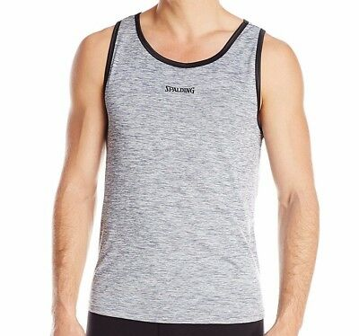 Spalding Mens Size L or XL Grey Perforated Space Dye Active Tank Top Shirt NWT