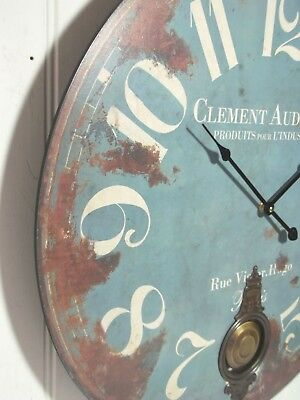 EXTRA LARGE 60cm ANTIQUE FRENCH VINTAGE STYLE WALL CLOCK SHABBY CHIC BLUE NEW