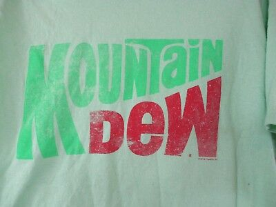 Mountain Dew T Shirt Neon Green Size L Large 2013 Pepsi Co.