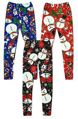 106185ad233ea Girls Leggings Christmas Snowman Xmas Novelty Rudolph Tree Kids 2 to 13  Years