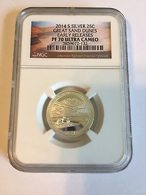 2014 S SILVER 25 C Great Sand Dunes Early Releases NGC PF 70 Ultra Cameo