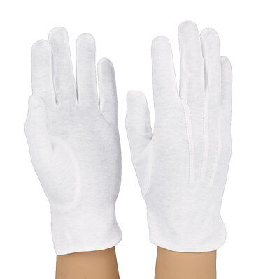 100% Cotton Formal Band, Parade, Military Gloves - White/Black - Free Shipping