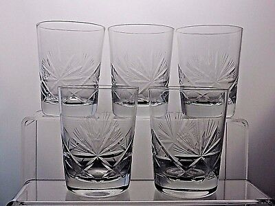 Vintage Beautiful Design Glass Whiskey Whisky Flat Tumblers Glasses Set Of 5