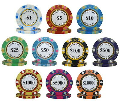 1000pcs 14G MONTE CARLO POKER CLUB POKER CHIPS BULK - Choose Denominations