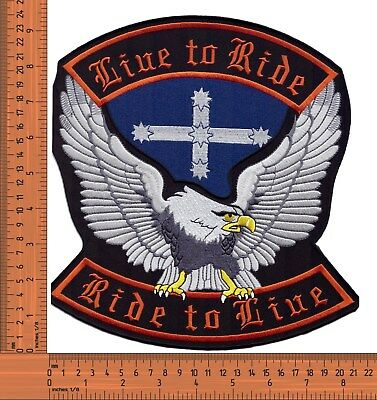 Live to Ride Eureka Eagle Bikers Large Embroidered Jacket Back Patch / Badge