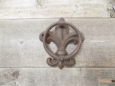 Cast Iron Antique Style Fleur De Lis Door Knocker Towel Holder Rustic French