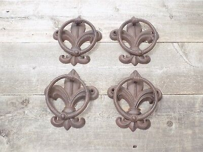 4 Cast Iron Antique Style Fleur De Lis Door Knockers Towel Holder Rustic French