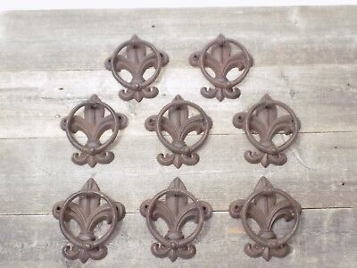 8 Cast Iron Antique Style Fleur De Lis Door Knockers Towel Holder Rustic French