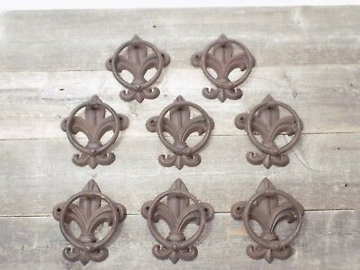 8 Fleur De Lis Door Knockers Towel Holder Rustic French Cast Iron Antique Style