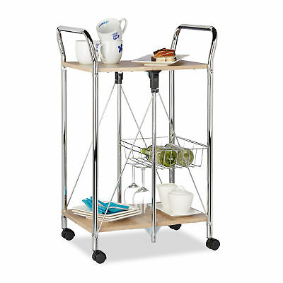 Foldable Serving Trolley with Wheels, 2 Shelves, Wood, Kitchen Cart, Natural