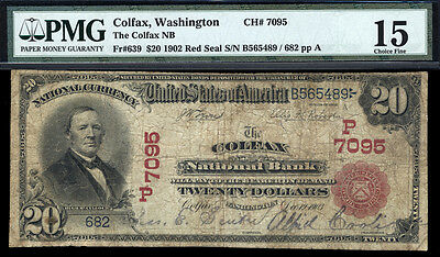 $20 1902 The Colfax National Bank, Washington SUPER RARE RED SEAL FOR THE STATE