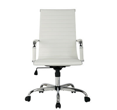 New White Modern Ergonomic Ribbed High Back Executive PU Leather Office Chair