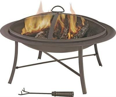 """Homebasix FT-095 26"""" FIRE PIT WITH MESH LID, STEEL WIRE GRID AND POKER"""